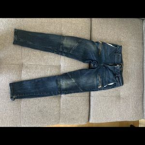 Never worn- skinny cropped Biker Jeans